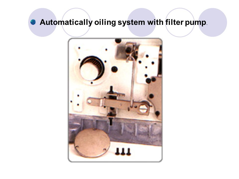 Automatically oiling system with filter pump.