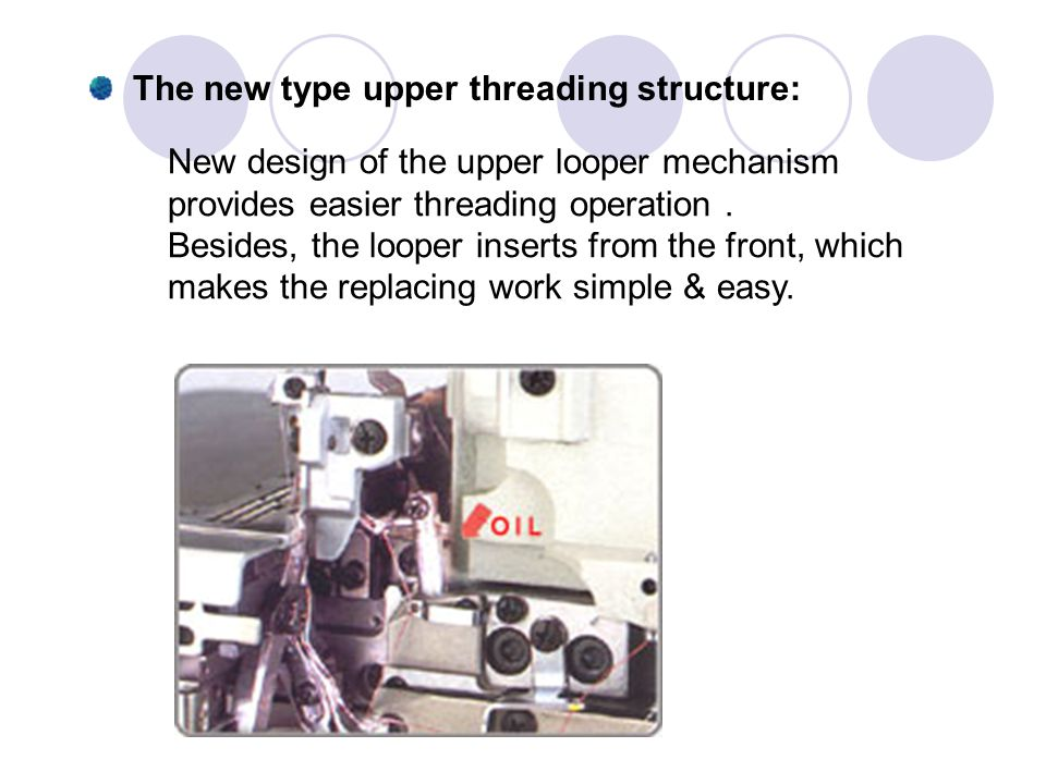 The new type upper threading structure: New design of the upper looper mechanism provides easier threading operation. Besides, the looper inserts from