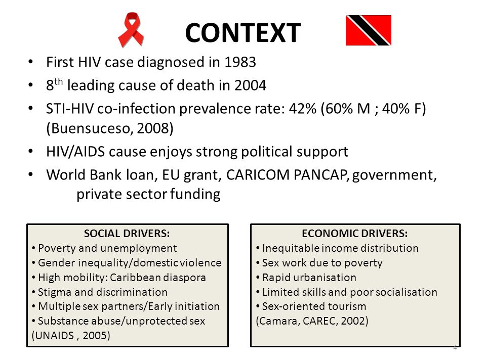 CONTEXT First HIV case diagnosed in 1983 8 th leading cause of death in 2004 STI-HIV co-infection prevalence rate: 42% (60% M ; 40% F) (Buensuceso, 2008) HIV/AIDS cause enjoys strong political support World Bank loan, EU grant, CARICOM PANCAP, government, private sector funding SOCIAL DRIVERS: Poverty and unemployment Gender inequality/domestic violence High mobility: Caribbean diaspora Stigma and discrimination Multiple sex partners/Early initiation Substance abuse/unprotected sex (UNAIDS, 2005) ECONOMIC DRIVERS: Inequitable income distribution Sex work due to poverty Rapid urbanisation Limited skills and poor socialisation Sex-oriented tourism (Camara, CAREC, 2002) 4