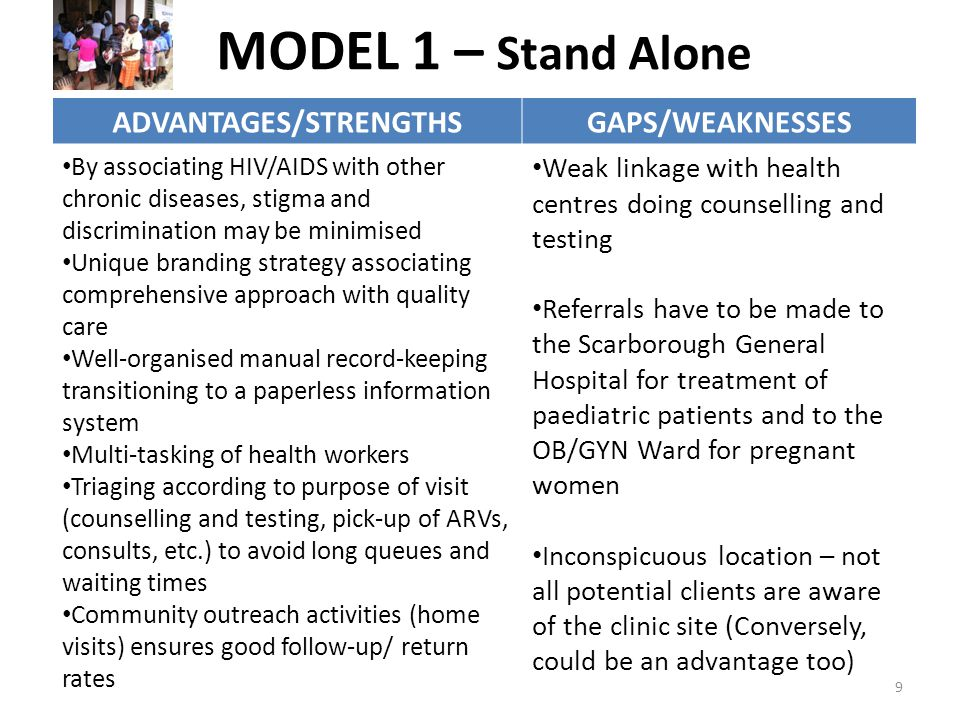MODEL 1 – Stand Alone ADVANTAGES/STRENGTHSGAPS/WEAKNESSES By associating HIV/AIDS with other chronic diseases, stigma and discrimination may be minimised Unique branding strategy associating comprehensive approach with quality care Well-organised manual record-keeping transitioning to a paperless information system Multi-tasking of health workers Triaging according to purpose of visit (counselling and testing, pick-up of ARVs, consults, etc.) to avoid long queues and waiting times Community outreach activities (home visits) ensures good follow-up/ return rates Weak linkage with health centres doing counselling and testing Referrals have to be made to the Scarborough General Hospital for treatment of paediatric patients and to the OB/GYN Ward for pregnant women Inconspicuous location – not all potential clients are aware of the clinic site (Conversely, could be an advantage too) 9