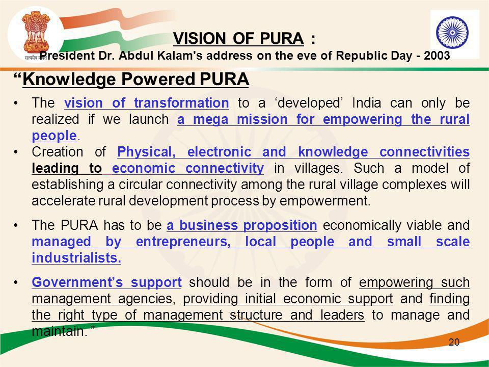 20 VISION OF PURA : President Dr. Abdul Kalam's address on the eve of Republic Day - 2003 Knowledge Powered PURA The vision of transformation to a dev
