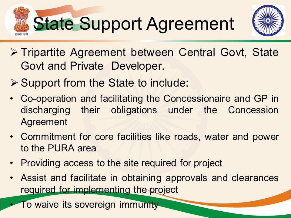 State Support Agreement Tripartite Agreement between Central Govt, State Govt and Private Developer. Support from the State to include: Co-operation a