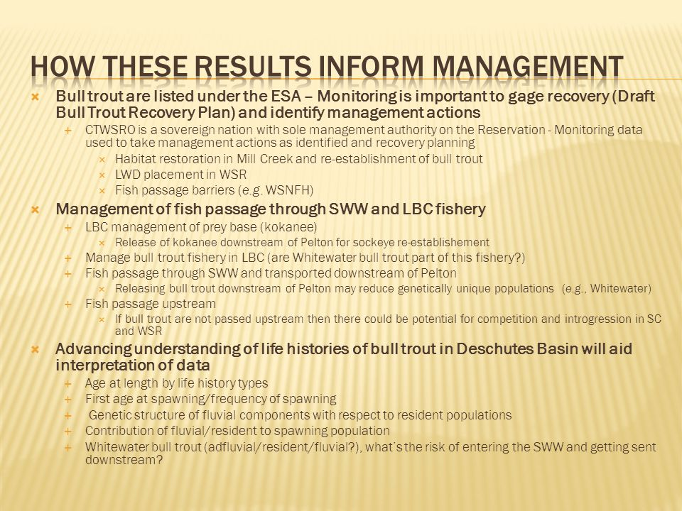 Bull trout are listed under the ESA – Monitoring is important to gage recovery (Draft Bull Trout Recovery Plan) and identify management actions CTWSRO is a sovereign nation with sole management authority on the Reservation - Monitoring data used to take management actions as identified and recovery planning Habitat restoration in Mill Creek and re-establishment of bull trout LWD placement in WSR Fish passage barriers (e.g.