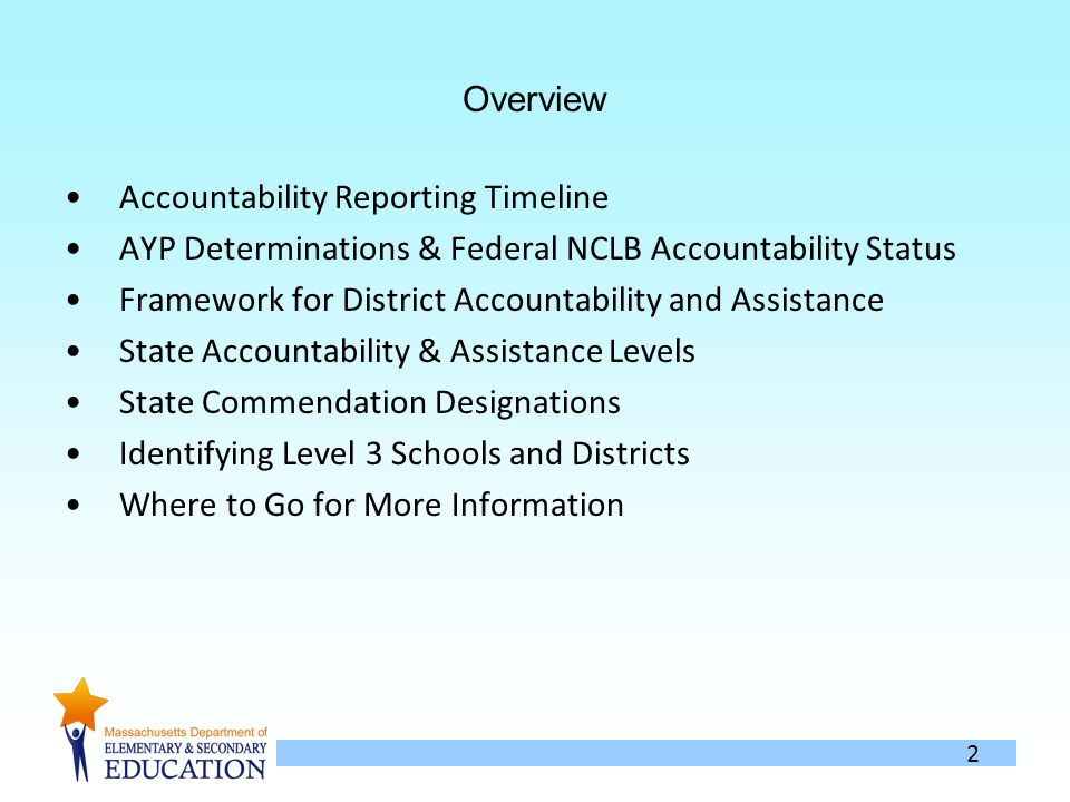 2 Overview Accountability Reporting Timeline AYP Determinations & Federal NCLB Accountability Status Framework for District Accountability and Assistance State Accountability & Assistance Levels State Commendation Designations Identifying Level 3 Schools and Districts Where to Go for More Information