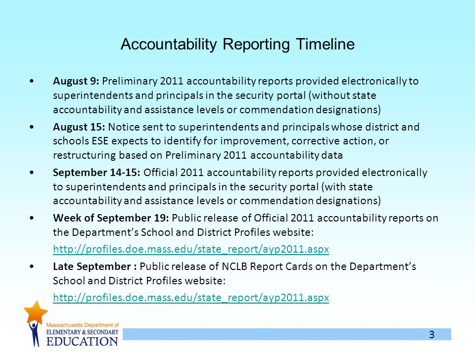 3 Accountability Reporting Timeline August 9: Preliminary 2011 accountability reports provided electronically to superintendents and principals in the security portal (without state accountability and assistance levels or commendation designations) August 15: Notice sent to superintendents and principals whose district and schools ESE expects to identify for improvement, corrective action, or restructuring based on Preliminary 2011 accountability data September 14-15: Official 2011 accountability reports provided electronically to superintendents and principals in the security portal (with state accountability and assistance levels or commendation designations) Week of September 19: Public release of Official 2011 accountability reports on the Departments School and District Profiles website: http://profiles.doe.mass.edu/state_report/ayp2011.aspx Late September : Public release of NCLB Report Cards on the Departments School and District Profiles website: http://profiles.doe.mass.edu/state_report/ayp2011.aspx