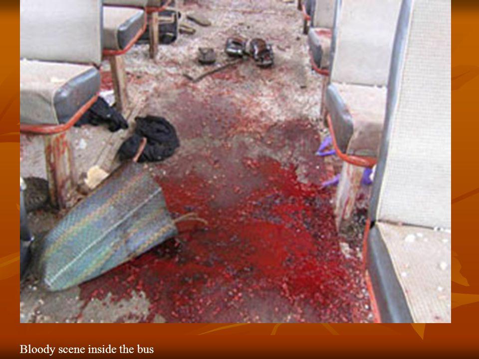Bloody scene inside the bus