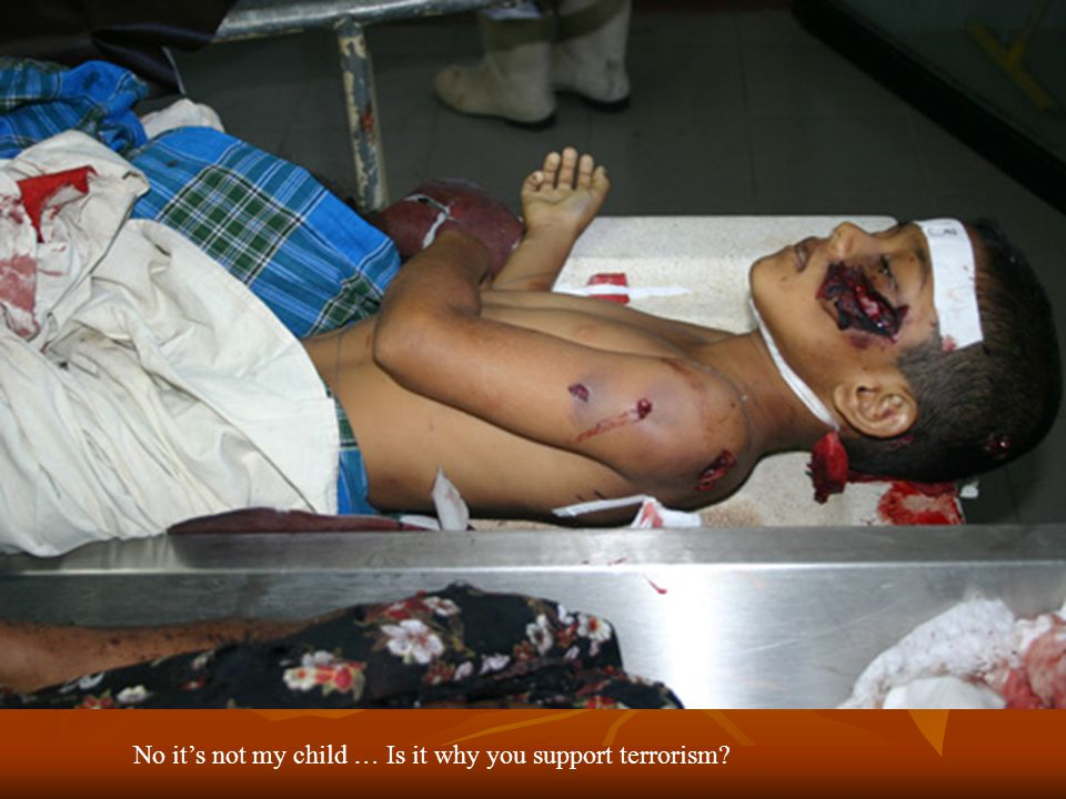 No its not my child … Is it why you support terrorism?