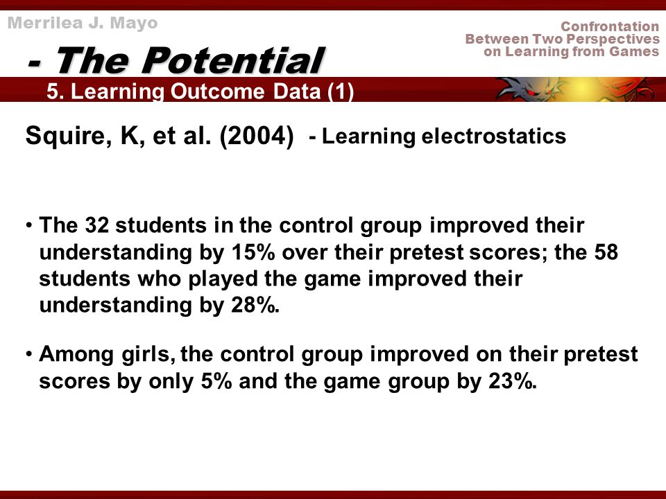 Confrontation Between Two Perspectives on Learning from Games 5. Learning Outcome Data (1) - The Potential Merrilea J. Mayo Squire, K, et al. (2004) T