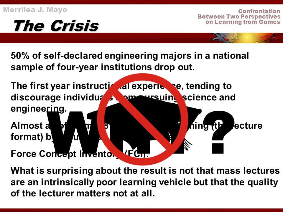 Confrontation Between Two Perspectives on Learning from Games The Crisis 50% of self-declared engineering majors in a national sample of four-year ins
