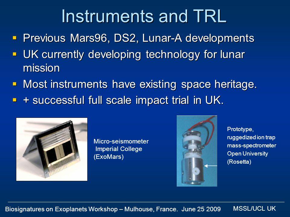Biosignatures on Exoplanets Workshop – Mulhouse, France. June 25 2009 MSSL/UCL UK Instruments and TRL Previous Mars96, DS2, Lunar-A developments Previ