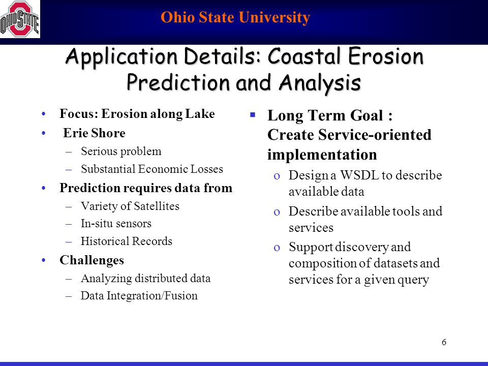 Ohio State University 7 Application Details: Great Lakes Now/ForeCasting GLOS: Great Lakes Observing System –Co-designer/project manager: K.