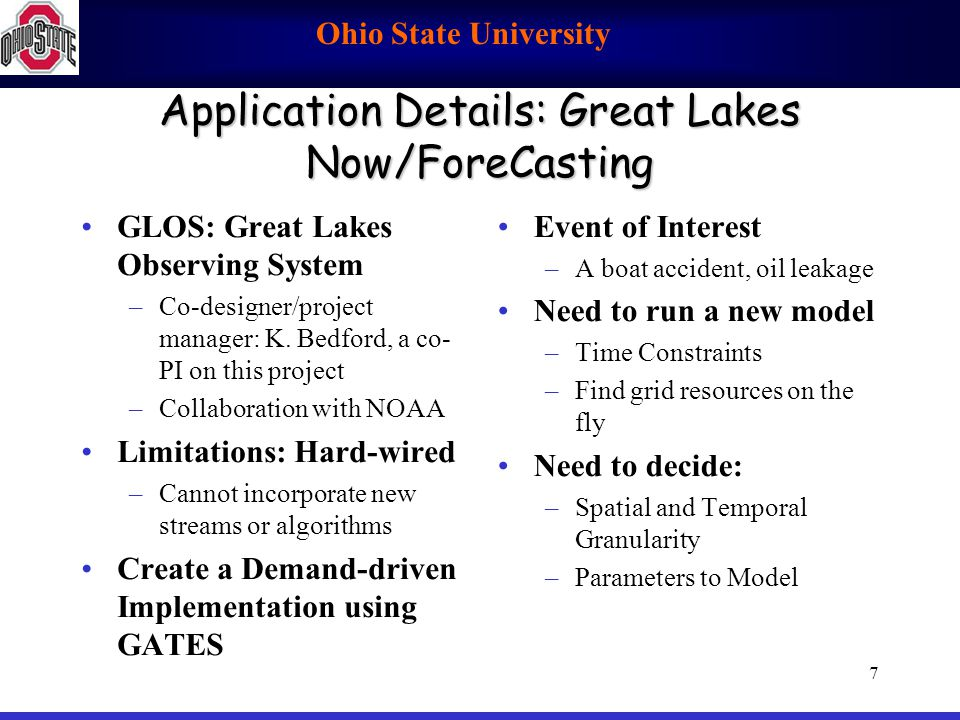 Ohio State University 7 Application Details: Great Lakes Now/ForeCasting GLOS: Great Lakes Observing System –Co-designer/project manager: K. Bedford,
