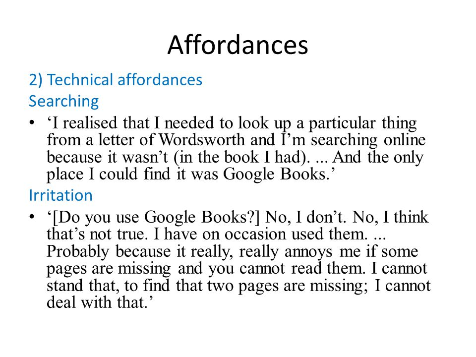 Affordances 2) Technical affordances Searching I realised that I needed to look up a particular thing from a letter of Wordsworth and Im searching onl