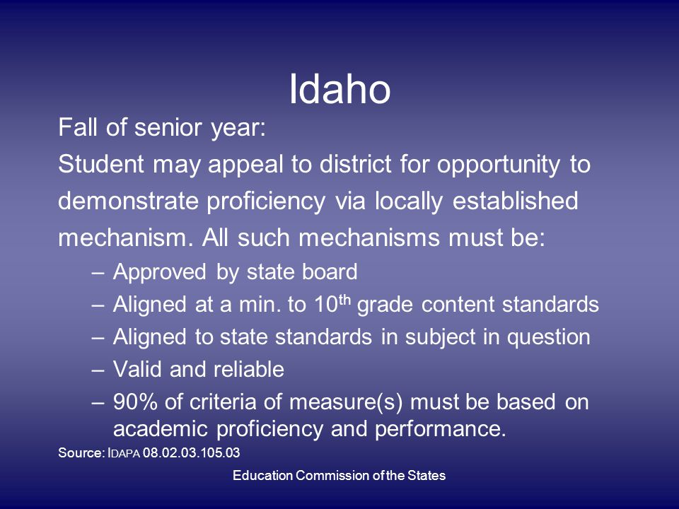 Idaho Fall of senior year: Student may appeal to district for opportunity to demonstrate proficiency via locally established mechanism. All such mecha