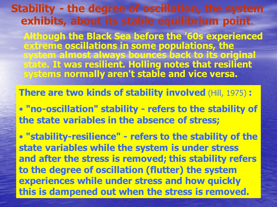 Stability - the degree of oscillation, the system exhibits, about its stable equilibrium point.