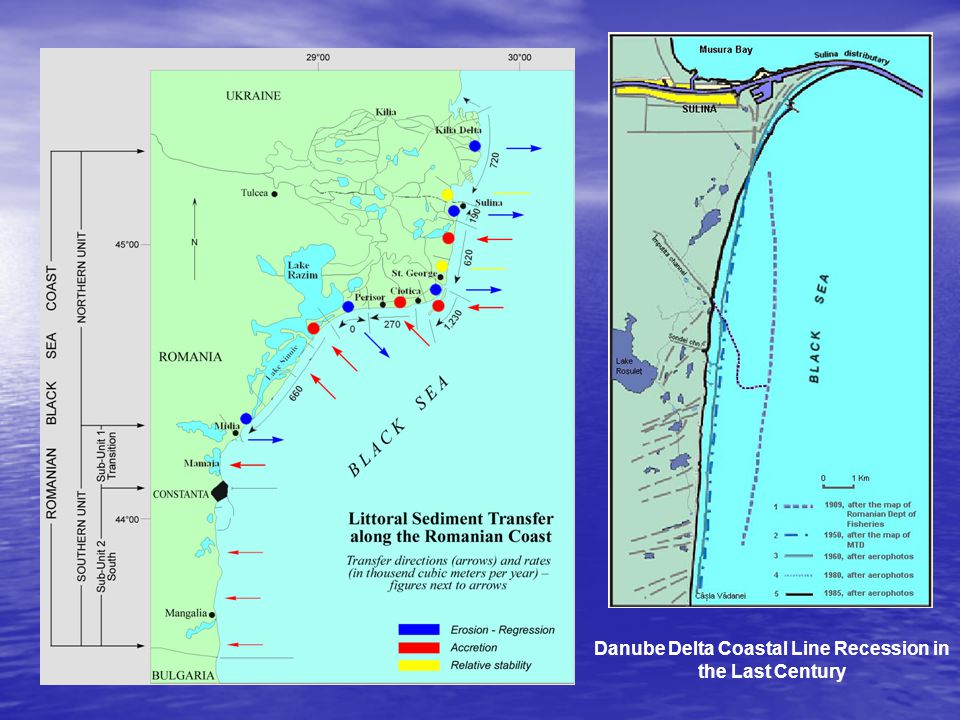 Danube Delta Coastal Line Recession in the Last Century