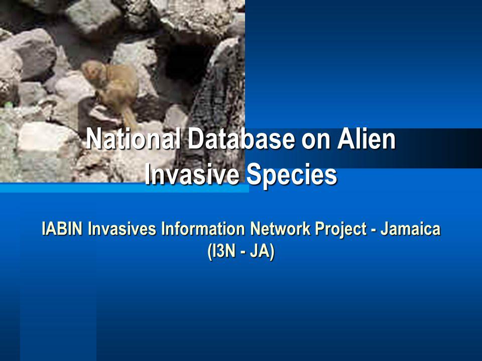 Background Information National Alien Invasive Species Information Project (I3N – JA) is the Jamaican node of a regional effort.