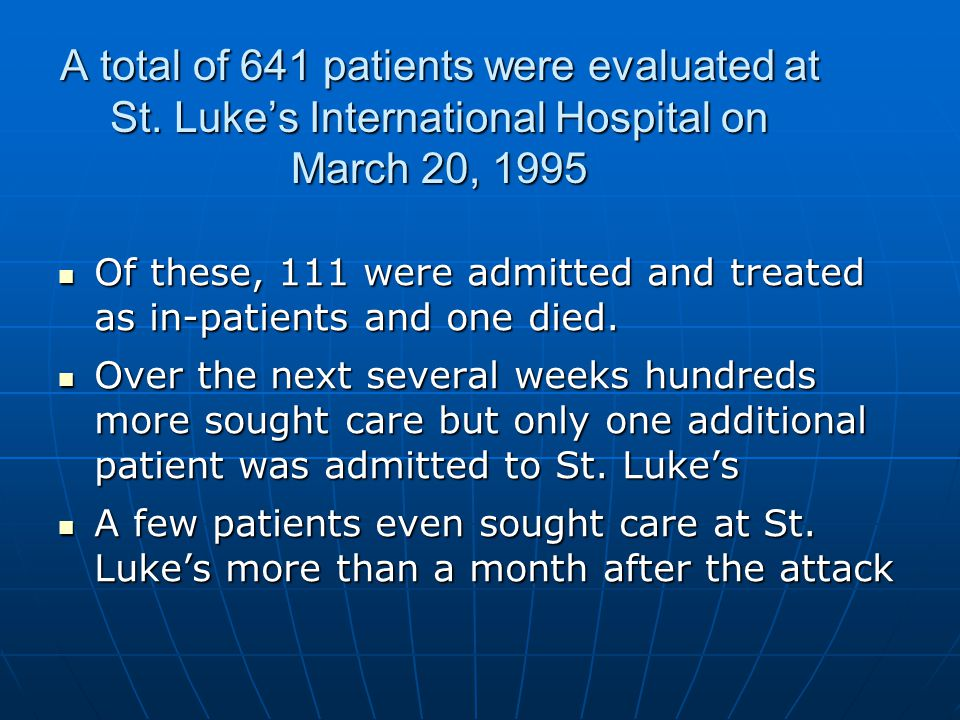 A total of 641 patients were evaluated at St. Lukes International Hospital on March 20, 1995 Of these, 111 were admitted and treated as in-patients an