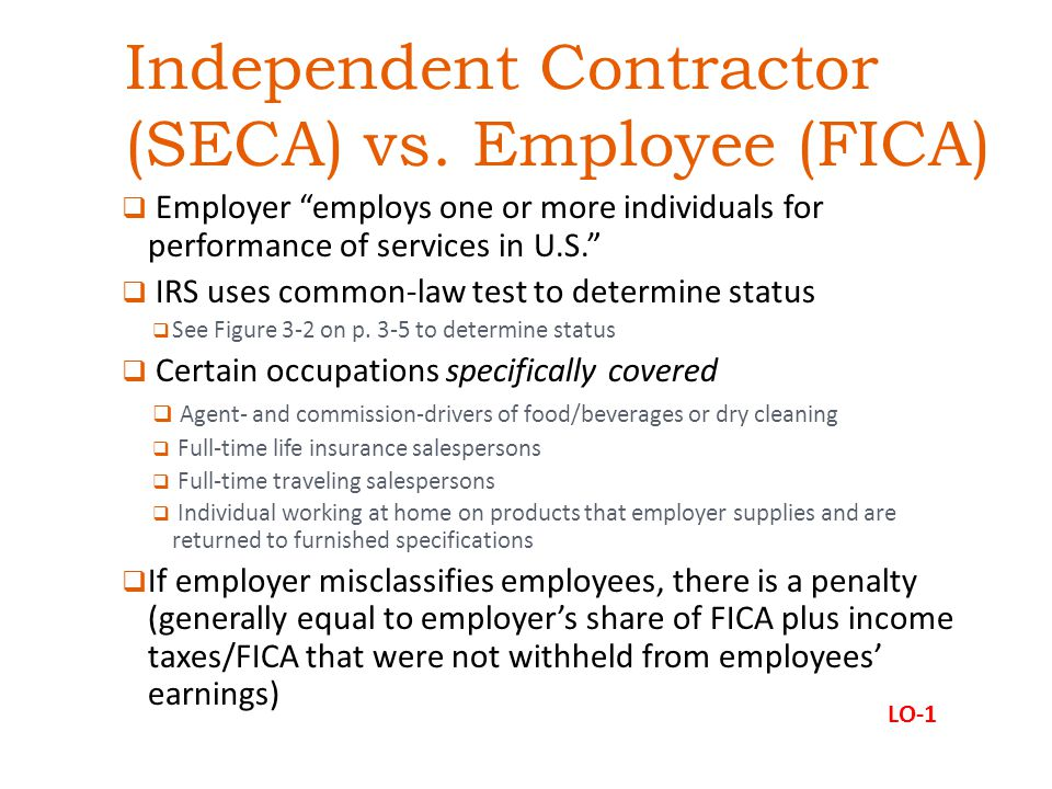 Independent Contractor (SECA) vs.