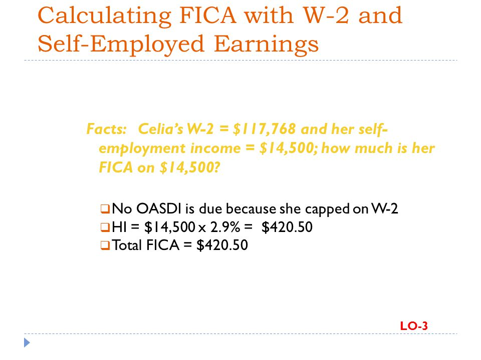 Calculating FICA with W-2 and Self-Employed Earnings Facts: Celias W-2 = $117,768 and her self- employment income = $14,500; how much is her FICA on $14,500.
