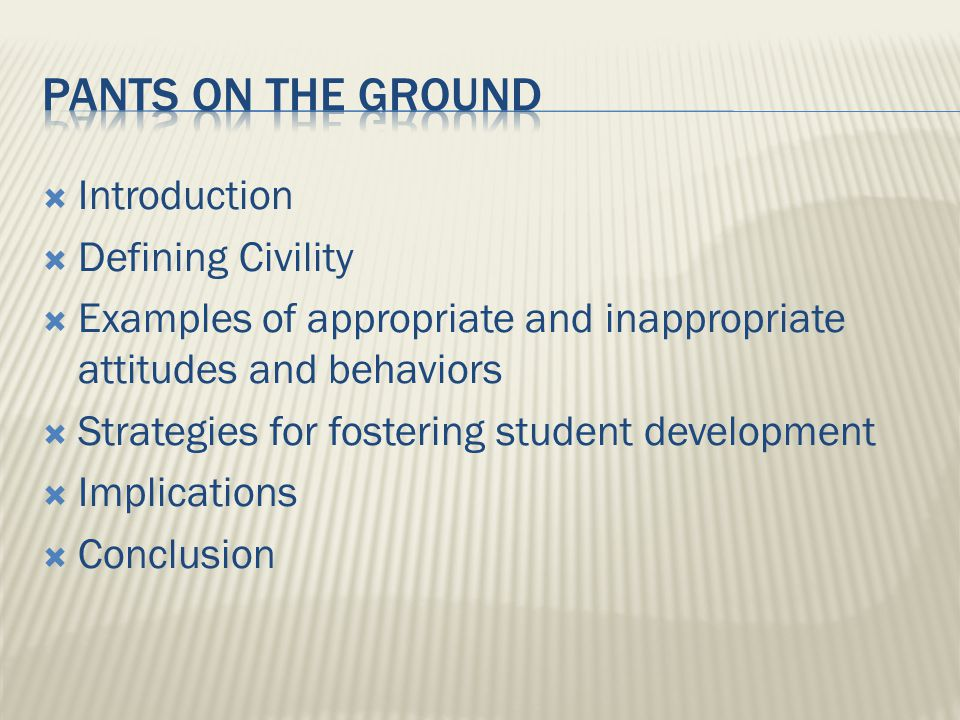 Introduction Defining Civility Examples of appropriate and inappropriate attitudes and behaviors Strategies for fostering student development Implications Conclusion
