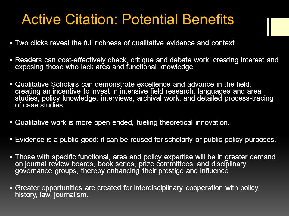 Active Citation: Potential Benefits Two clicks reveal the full richness of qualitative evidence and context.