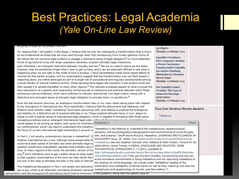 Best Practices: Legal Academia (Yale On-Line Law Review)