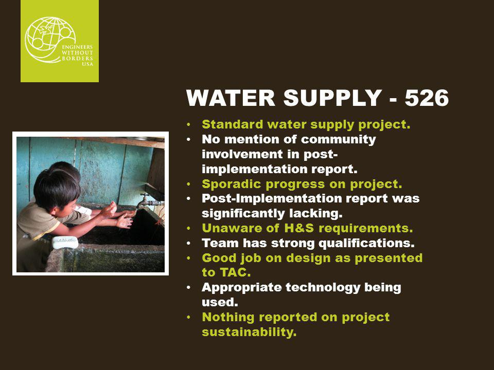 WATER SUPPLY - 526 Standard water supply project.