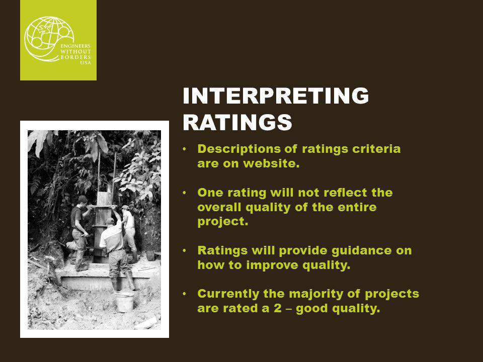 INTERPRETING RATINGS Descriptions of ratings criteria are on website.