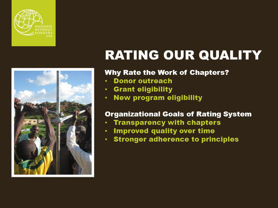 RATING OUR QUALITY Why Rate the Work of Chapters.