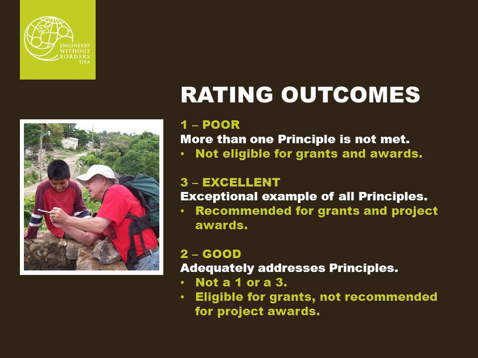 RATING OUTCOMES 1 – POOR More than one Principle is not met.