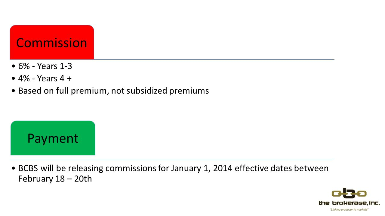 Commission 6% - Years 1-3 4% - Years 4 + Based on full premium, not subsidized premiums Payment BCBS will be releasing commissions for January 1, 2014