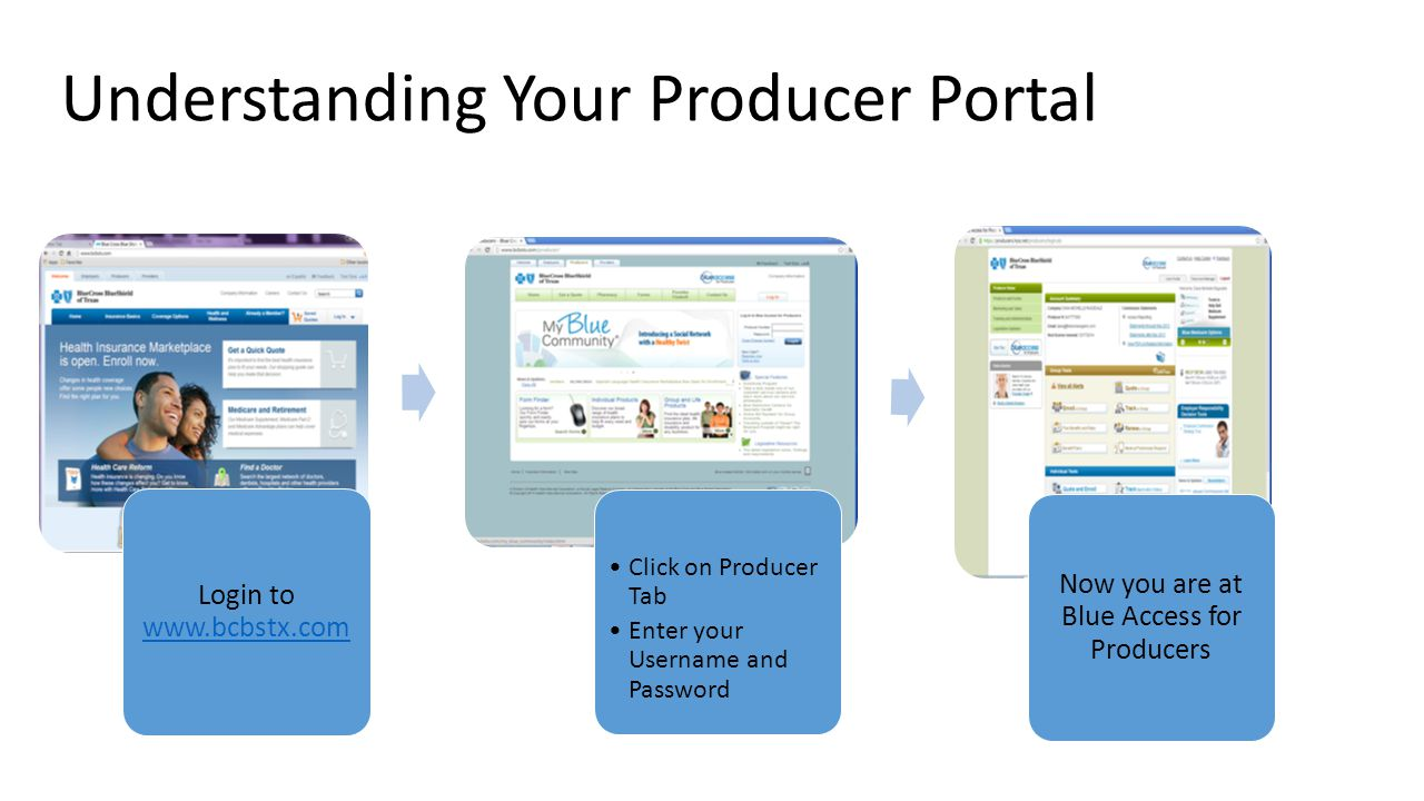 Login to www.bcbstx.com www.bcbstx.com Click on Producer Tab Enter your Username and Password Now you are at Blue Access for Producers Understanding Y