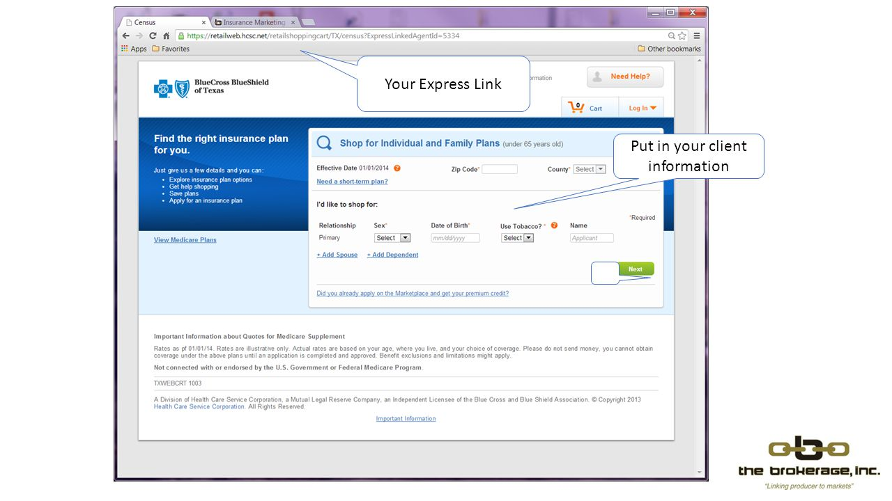 Your Express Link Put in your client information