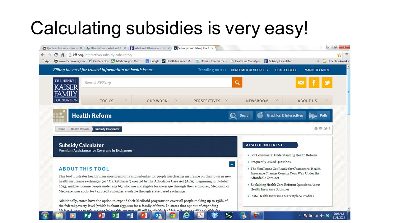 Calculating subsidies is very easy!
