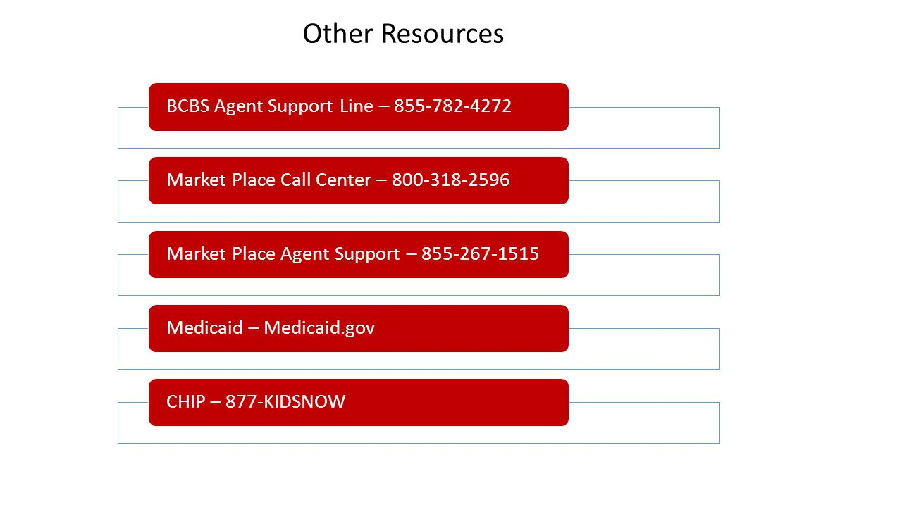 BCBS Agent Support Line – 855-782-4272Market Place Call Center – 800-318-2596Market Place Agent Support – 855-267-1515Medicaid – Medicaid.govCHIP – 87