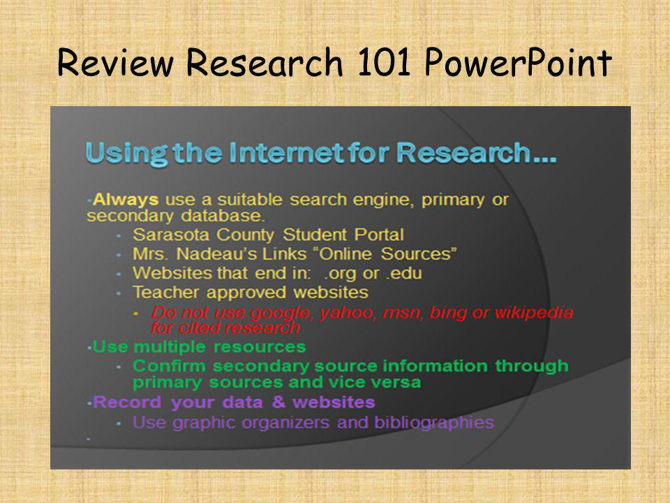 Review Research 101 PowerPoint