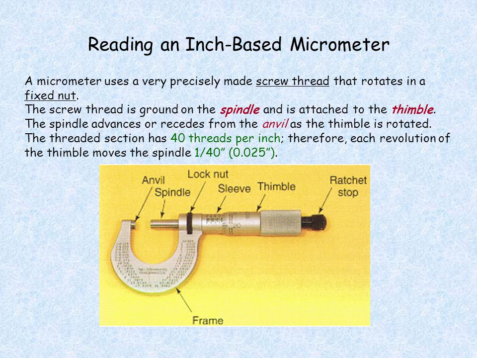 Reading an Inch-Based Micrometer A micrometer uses a very precisely made screw thread that rotates in a fixed nut. The screw thread is ground on the s