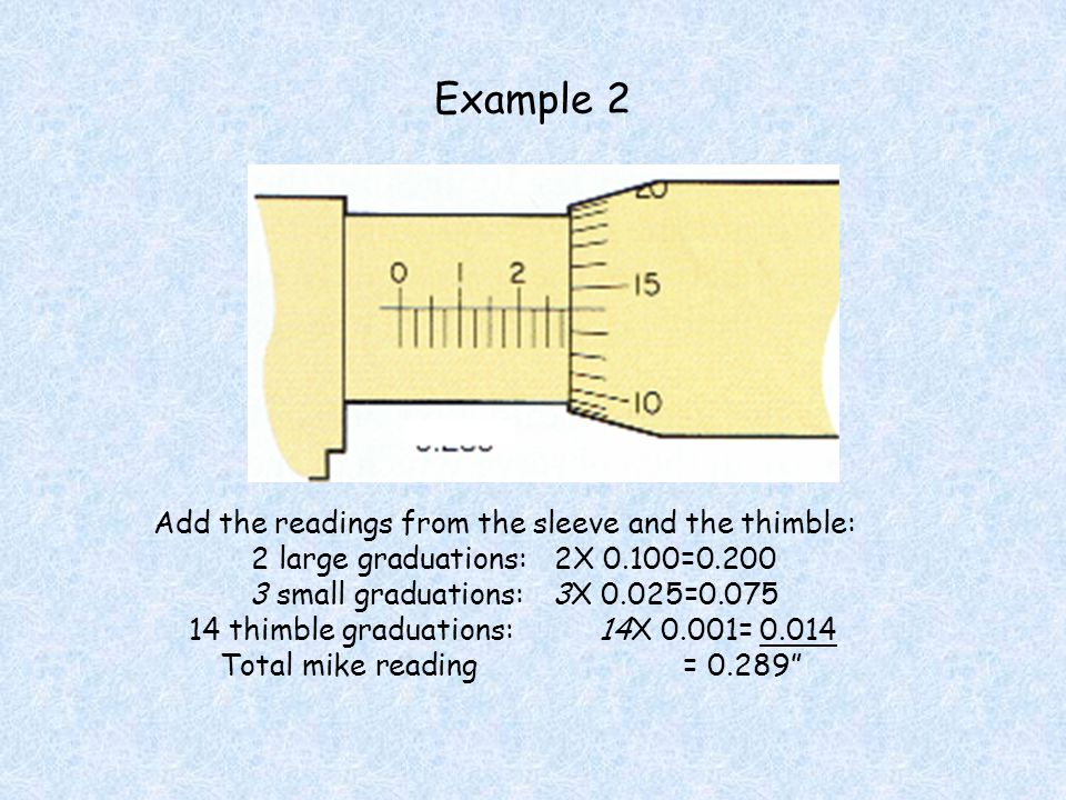 Example 2 Add the readings from the sleeve and the thimble: 2 large graduations:2X 0.100=0.200 3 small graduations:3X 0.025=0.075 14 thimble graduatio