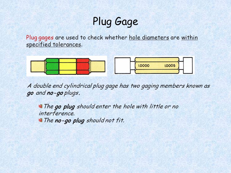Plug Gage Plug gages are used to check whether hole diameters are within specified tolerances. A double end cylindrical plug gage has two gaging membe