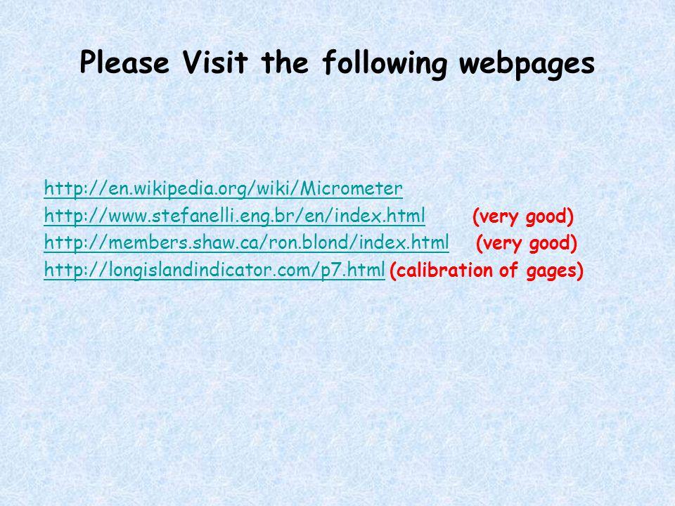 Please Visit the following webpages http://en.wikipedia.org/wiki/Micrometer http://www.stefanelli.eng.br/en/index.htmlhttp://www.stefanelli.eng.br/en/