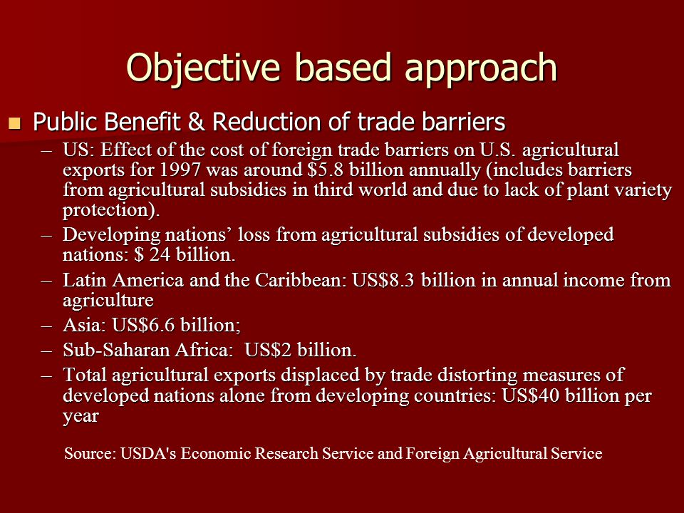 Objective based approach Public Benefit & Reduction of trade barriers Public Benefit & Reduction of trade barriers –US: Effect of the cost of foreign trade barriers on U.S.