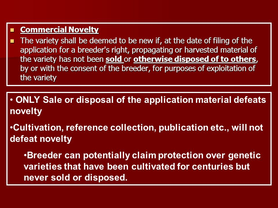 Commercial Novelty Commercial Novelty The variety shall be deemed to be new if, at the date of filing of the application for a breeder s right, propagating or harvested material of the variety has not been sold or otherwise disposed of to others, by or with the consent of the breeder, for purposes of exploitation of the variety The variety shall be deemed to be new if, at the date of filing of the application for a breeder s right, propagating or harvested material of the variety has not been sold or otherwise disposed of to others, by or with the consent of the breeder, for purposes of exploitation of the variety ONLY Sale or disposal of the application material defeats novelty Cultivation, reference collection, publication etc., will not defeat novelty Breeder can potentially claim protection over genetic varieties that have been cultivated for centuries but never sold or disposed.