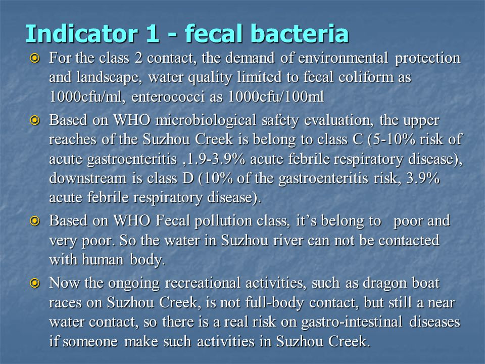 Indicator 1 - fecal bacteria For the class 2 contact, the demand of environmental protection and landscape, water quality limited to fecal coliform as