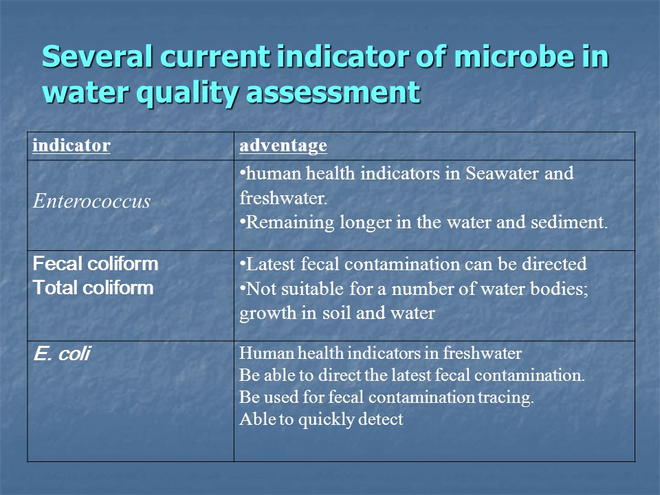 Several current indicator of microbe in water quality assessment indicatoradventage Enterococcus human health indicators in Seawater and freshwater. R