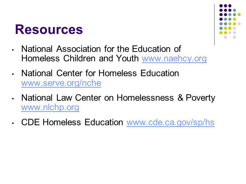 Resources National Association for the Education of Homeless Children and Youth www.naehcy.orgwww.naehcy.org National Center for Homeless Education ww