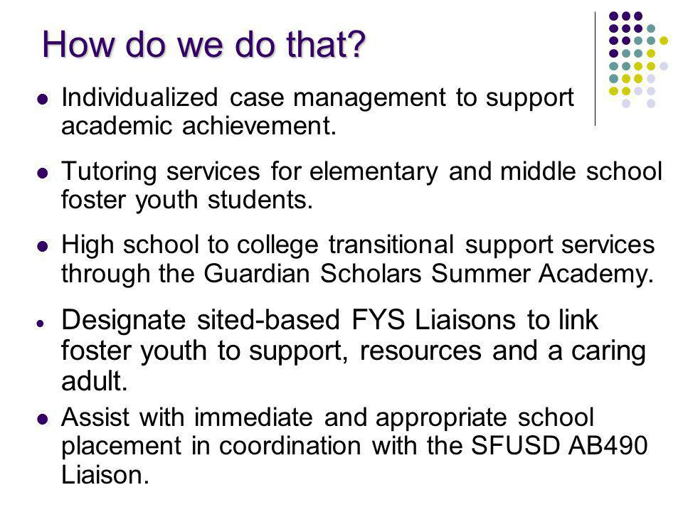 How do we do that. Individualized case management to support academic achievement.