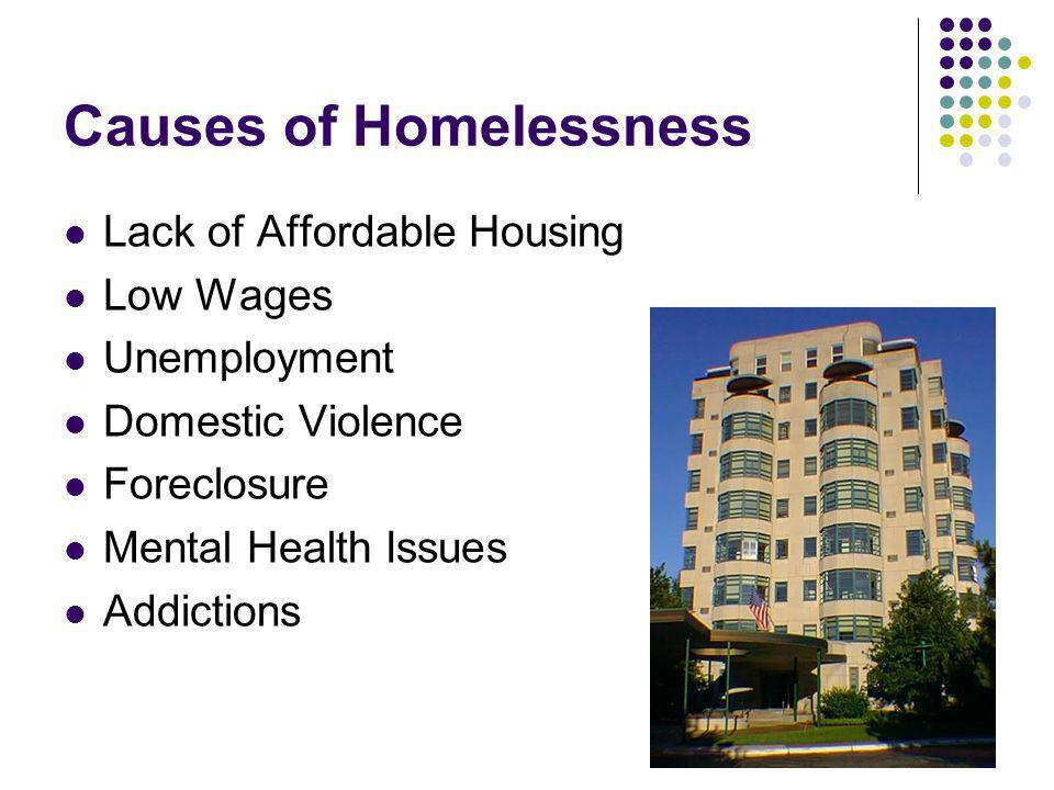 Causes of Homelessness Lack of Affordable Housing Low Wages Unemployment Domestic Violence Foreclosure Mental Health Issues Addictions