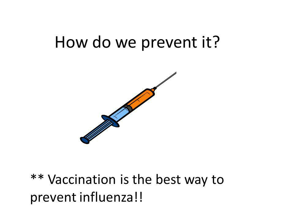 How do we prevent it ** Vaccination is the best way to prevent influenza!!