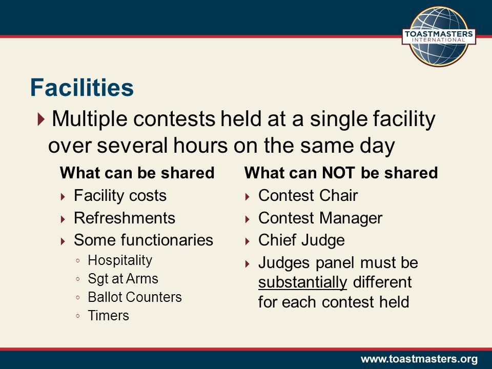 Facilities Multiple contests held at a single facility over several hours on the same day What can be shared Facility costs Refreshments Some functionaries Hospitality Sgt at Arms Ballot Counters Timers What can NOT be shared Contest Chair Contest Manager Chief Judge Judges panel must be substantially different for each contest held